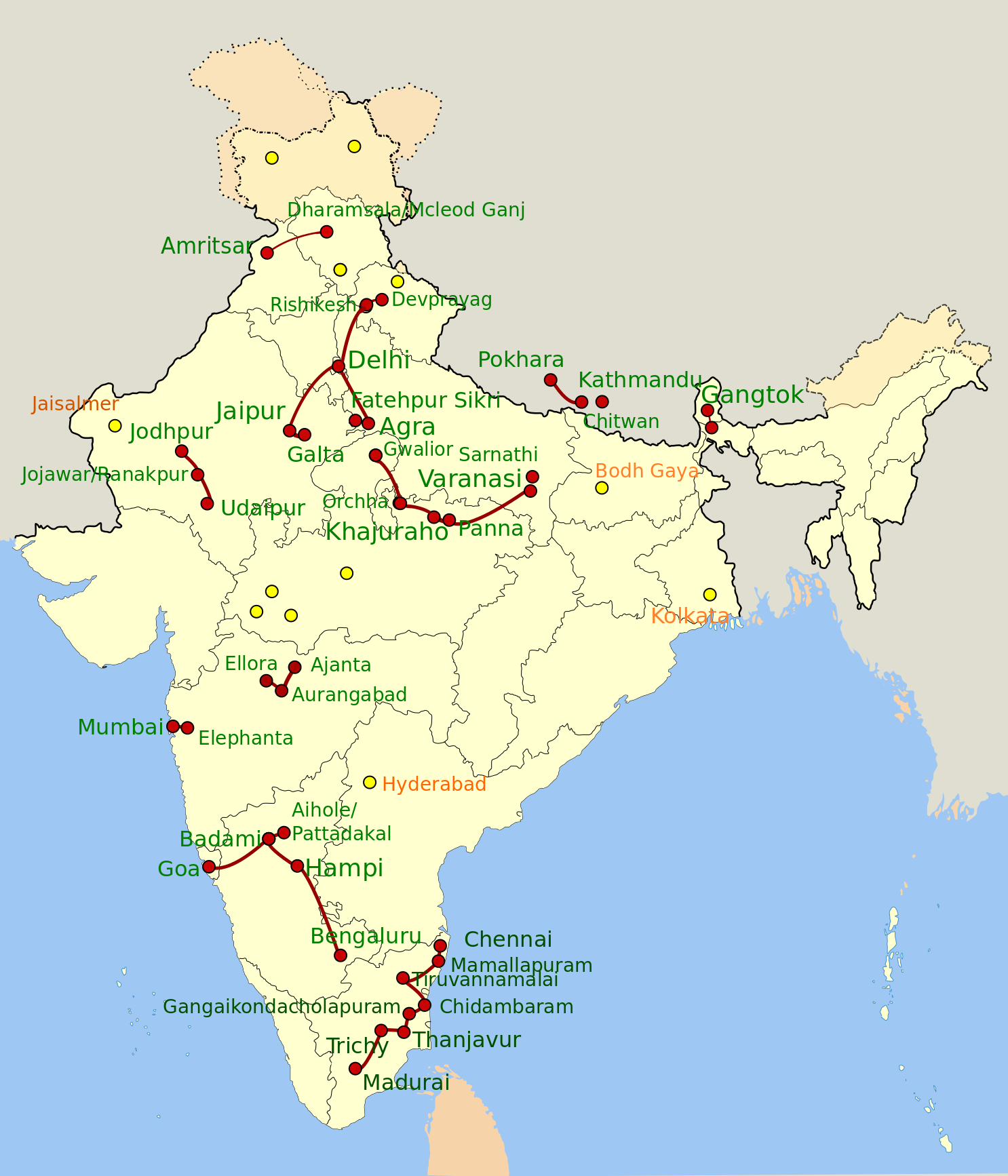 India Map Of Our Tours - Been there map